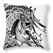 War Horse - Zentangle Throw Pillow