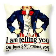 War Poster - Ww1 - Uncle Sam Savings Throw Pillow