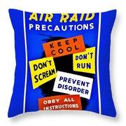 War Poster - Ww2 - Air Raid Throw Pillow