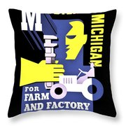 War Poster - Ww2 - Mobilizing Michigan Throw Pillow