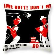 War Poster - Ww2 - Dont Waste Water 2 Throw Pillow