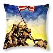 War Poster - Ww2 - Iwo Jima Throw Pillow