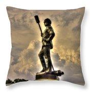 War Thunder - The Clouds Of War 1b - 4th New York Independent Battery Above Devils Den Gettysburg Throw Pillow by Michael Mazaika