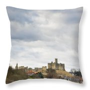 Warkworth Castle Above River Coquet Throw Pillow