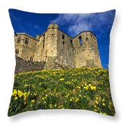 Warkworth Castle In Spring Throw Pillow