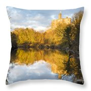 Warkworth Castle Reflected Throw Pillow