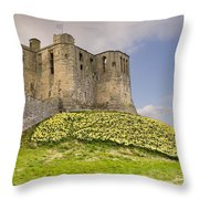 Warkworth Castle With  Daffodils Throw Pillow