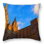 Warm Glow Cathedral - Impressions Of Barcelona Throw Pillow