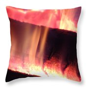 Warm Glowing Fire Log Throw Pillow