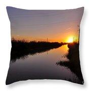 Warm Rural Sunset Throw Pillow