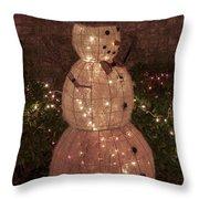 Warm Weather Snowman Throw Pillow