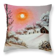 Warm Winter Day After Bob Ross Throw Pillow