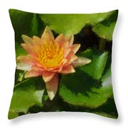 Warm Yellows Oranges And Corals - A Waterlily Impression Throw Pillow