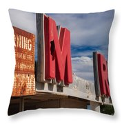 Warning M Rine Throw Pillow