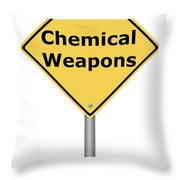 Warning Sign Chemical Weapons Throw Pillow