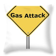 Warning Sign Gas Attack Throw Pillow