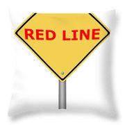 Warning Sign Red Line Throw Pillow