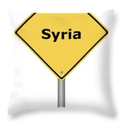 Warning Sign Syria Throw Pillow
