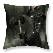 Warrior Of The Woods Throw Pillow