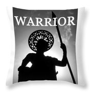 Warrior White Text Throw Pillow