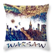 Warsaw Skyline Postcard Throw Pillow