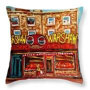 Warshaw's Bargain Fruit Store Rue St Laurent Montreal Paintings City Scene Art Carole Spandau Throw Pillow