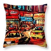 Warshaw's Bargain Fruits Store Montreal Night Scene Jewish Montreal Painting Carole Spandau Throw Pillow
