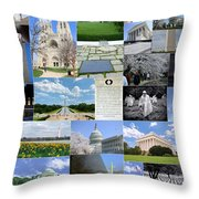 Washington D. C. Collage 2 Throw Pillow
