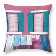 Washing Day Burano Venice Throw Pillow