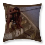 Varanasi Hair Wash Throw Pillow