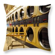 Washing Machines At Laundromat Throw Pillow by Amy Cicconi