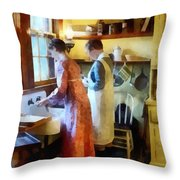 Washing Up After Dinner Throw Pillow