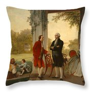 Washington And Lafayette At Mount Vernon Throw Pillow