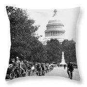 Washington Bicycle Parade Throw Pillow