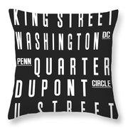 Washington City Subway Sign Throw Pillow