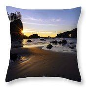 Washington Coast Evening Sunstar Tide Throw Pillow