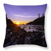 Washington Coast Sunset Dusk Throw Pillow