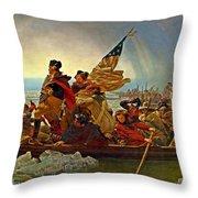 Washington Crossing The Delaware Emanuel Leutze 1851 Throw Pillow