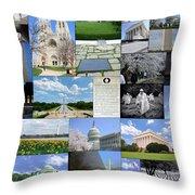 Washington D. C. Collage  Throw Pillow