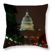 Washington Dc At Night Throw Pillow