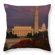 Washington Dc Iconic Landmarks Throw Pillow