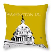 Washington Dc Skyline The Capital Building - Gold Throw Pillow