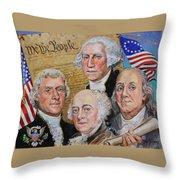 Founding Fathers Washington Jefferson Adams And Franklin Throw Pillow