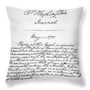 Washington: Journal, 1781 Throw Pillow