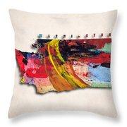 Washington Map Art - Painted Map Of Washington Throw Pillow