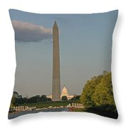 Washington Monument And Capitol Building-2 Throw Pillow