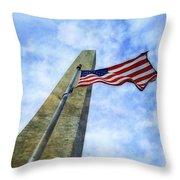 Washington Monument And Flag Throw Pillow