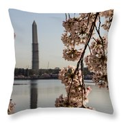 Washington Monument Framed By Blossoms Throw Pillow