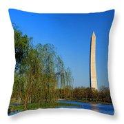 Washington Monument From Constitution Gardens Pond Throw Pillow