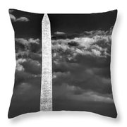 Washington Monument In Cloudy Sky Throw Pillow
